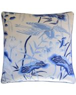 Lotus Garden Decorative Throw Pillow in Blue and White - Available in Two Sizes