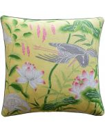 Lotus Garden Decorative Throw Pillow in Yellow - Available in Two Sizes