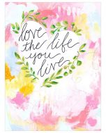 Love The Life You Live Inspirational Quote Abstract Canvas Wall Art for Kids