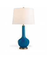 Modern Turquoise Porcelain Table Lamp With Round Base and Brass Accents - ON BACKORDER UNTIL MAY 2021