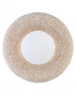 """35"""" Round Cowry Shell Mirror - LOW STOCK"""