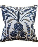 Navy Margaut Floral Design Decorative Square Throw Pillow - Available in Two Sizes