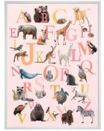 Our Animal Alphabet On Pink Canvas Children's Wall Art
