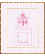Bright Pink Pagoda Design I Lithograph in Gold Frame