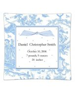Personalized Birth Announcement Decoupage Plate in Blue Toile with Polka Dots, Available in a Variety of Sizes