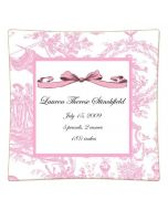 Pink Toile Personalized Birth Announcement Decoupage Plate, Available in a Variety of Sizes