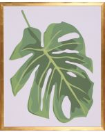 Green Philodendron II Wall Art in Gold Frame