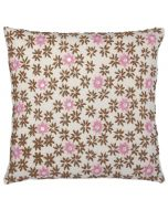 Pink Flower on Tan Embroidered Decorative Pillow with Beads