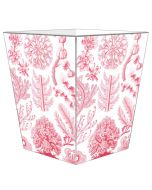Pink Coral Decoupage Wastebasket and Optional Tissue Box Cover