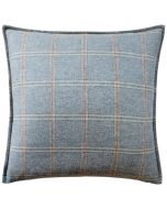 Merino Wool Plaid Decorative Throw Pillow in Soft Teal