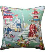 Prussian Turquoise Linen Asian Pagoda Inspired Decorative Square Pillow – Available in Two Sizes
