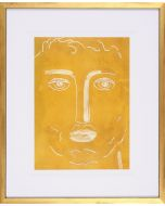 Yellow Figurative Face Sketch Wall Art in Gold Frame