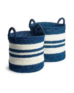 Set of Two Barclay Butera Baskets in Blue and White