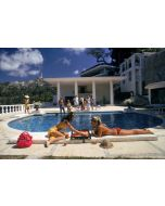 """Slim Aarons """"Poolside Backgammon"""" Print by Getty Images Gallery - Variety of Sizes Available"""