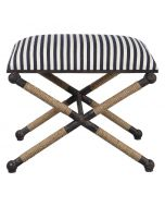 Small Striped Nautical Bench with Rope Accents