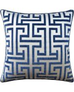 Geometric Velvet Navy Decorative Square Cotton Pillow – Available in Two Sizes