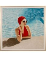 Summertime Woman in Red Swimsuit and Red Swim Cap Wall Art in Gold Frame