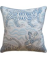 Tibet Pale Blue Tiger Decorative Square Throw Pillow - Available in Two Sizes