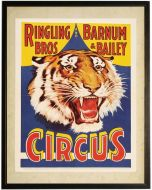 Vintage Circus Tiger Children's Wall Art With Size and Framing Optionsa