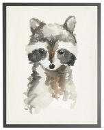 Watercolor Baby Raccoon Children's Wall Art With Size and Framing Options