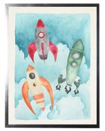 Watercolor Rocket Ships Children's Wall Art With Size and Framing Options