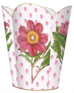 Pink Peony on Provincial Wastebasket and Optional Tissue Box Cover