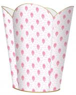 Pink Provincial Print Wastebasket and Optional Tissue Box Cover