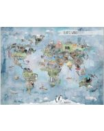 Wonderful World Map With Animals Personalized Mural Wall Decal