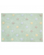 Washable Soft Mint Children's Rug with Multi-Colored Stars