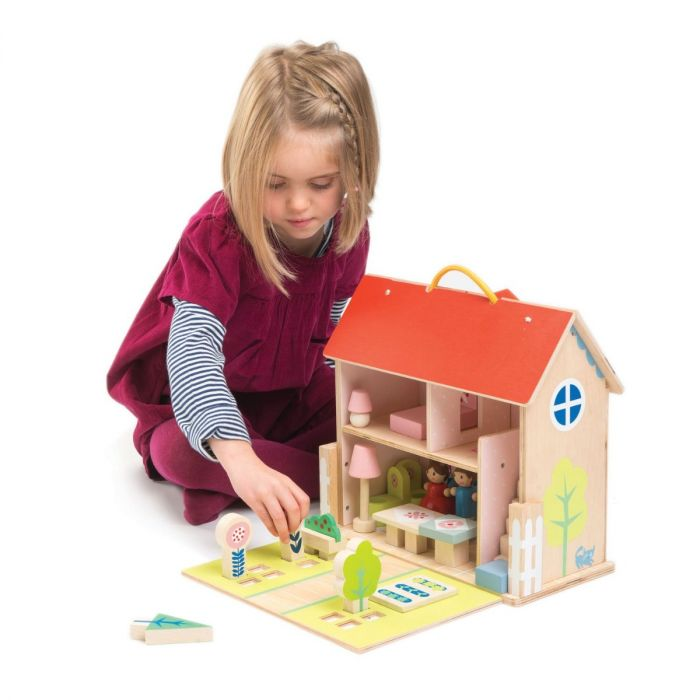 Furnished 2 Story Wooden Travel Dollhouse Set With Dolls for Kids