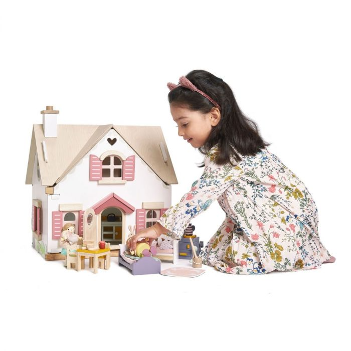 Countryside Cottage Wooden Dollhouse With Furniture for Kids