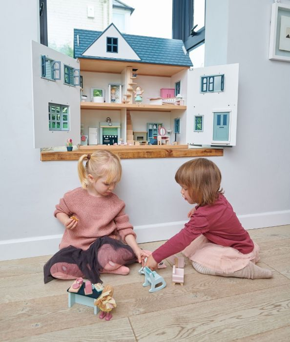 Deluxe White and Blue Dovetail Wooden Dollhouse With Optional Furniture for Kids