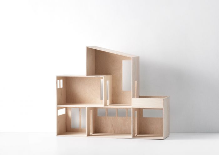 Modern Natural Two Story Storage Dollhouse