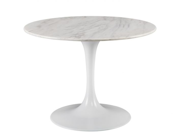 Saarinen Modern Round White Marble Dining Table With Trumpet Base - ON BACKORDER UNTIL SEPTEMBER 2019
