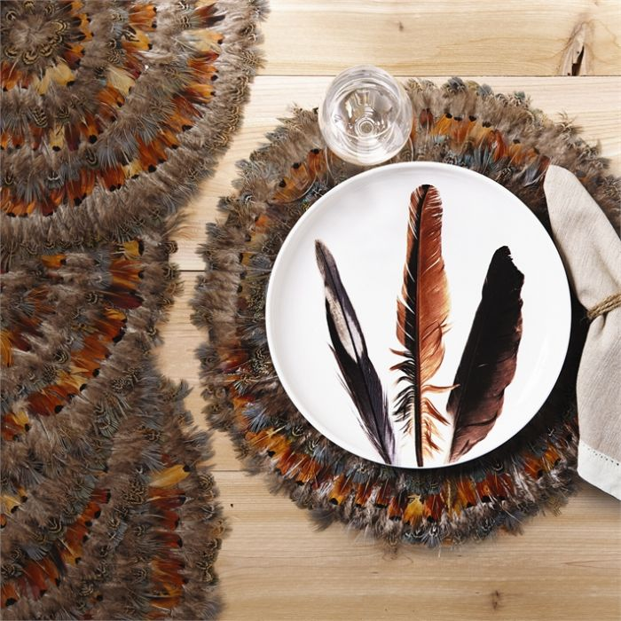 Set of 6 Feathered Pheasant Fall Round Decorative Holiday Mats