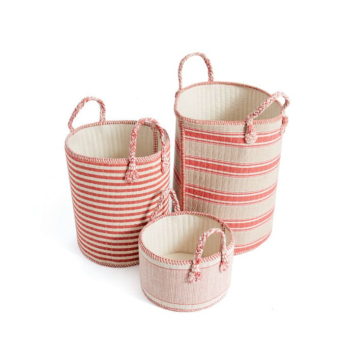 THE WELL APPOINTED HOUSE   Luxuries For The Home   THE WELL APPOINTED HOME  Set Of Three Coral And Beige Natural Linen Baskets