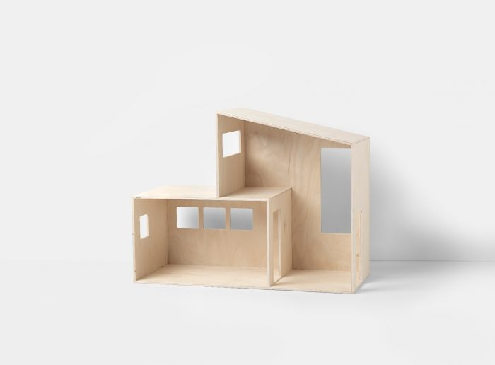 Small Modern Natural Plywood Two Story Storage Dollhouse