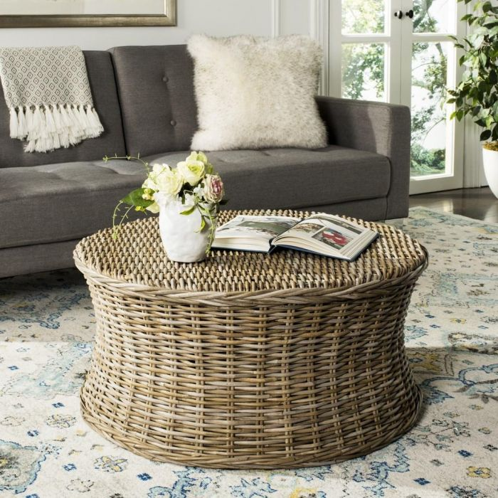 The Well Appointed House Luxuries For The Home The Well Appointed Home Woven Rattan Coffee Table Ottoman In Natural