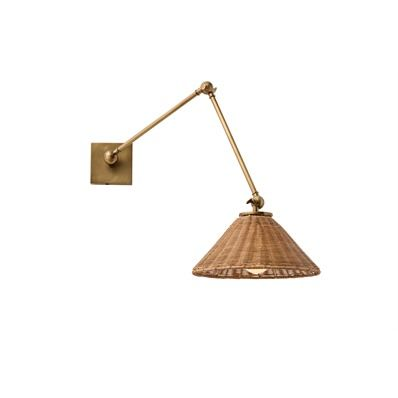 The Windsor Smith Collection for Arteriors Padma Woven Wicker Articulating Wall Sconce