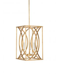Small Society Hall Antique Gold Leaf Chandelier