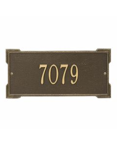 Personalized Wall Mounted Address Plaque - Antique Brass