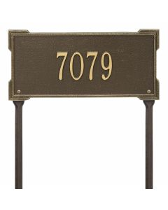 Personalized Lawn Address Plaque - Antique Brass