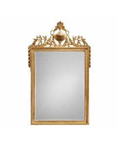 Empire Style Carved Wood Mirror with Urn & Leaf Motif in Gold Leaf