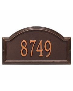 Personalized Arched Wall Mounted Address Plaque - Antique Copper