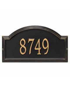 Personalized Arched Wall Mounted Address Plaque - Black & Gold