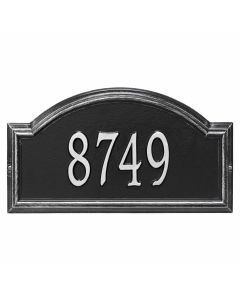 Personalized Arched Wall Mounted Address Plaque - Black & Silver