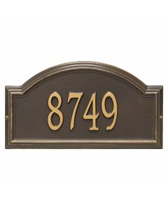 Personalized Arched Wall Mounted Address Plaque - Bronze & Gold