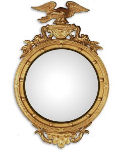 18th Century Round Bullseye Mirror With Eagle and Dolphins - Available in 2 Sizes and Custom Options