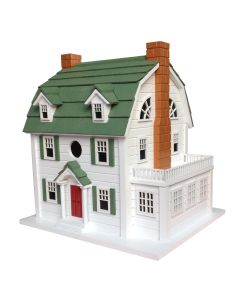1920's Dutch Colonial Birdhouse with Pine-Shingled Roof