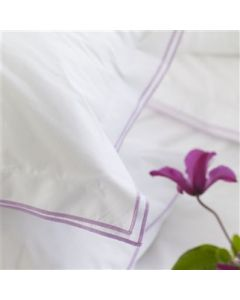 White With Purple Trim 400 Thread Count Cotton Luxury Bedding With Double Oxford Embroidered Edge –  Sham and Pillowcase